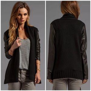 Vince Leather Sleeve Drape Jacket Black Womens XS